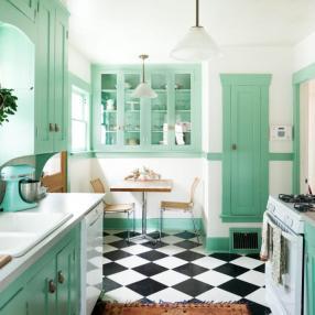 Идеи кухонь в стиле тиффани блу