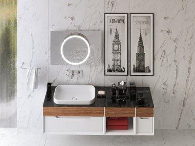 Ventidue Bianco Opaco / Noce Lucido Bagno Piu Мебель для ванной